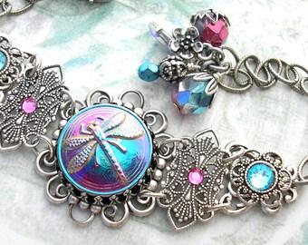 Dragonfly Glass Button Bracelet - Fuchsia Aquamarine Glass Button Antiqued Silver Bracelet