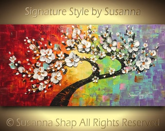 ORIGINAL Painting, Tree Art, White Flowers, Cherry Blossom, Landscape, Oil, Palette Knife, Textured, multicolored, by Susanna 48x24