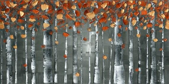 "Canvas PRINT Aspen Birch Tree Art Abstract Modern Art Charcoal Grey Orange Copper Large Art, Wall Art Home Decor, by Susanna, up to 36""x72"""