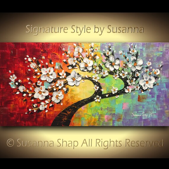 ORIGINAL Oil Painting Textured Cherry Blossom Painting Tree Landscape White Flowers Palette Knife multicolored by Susanna 48x24