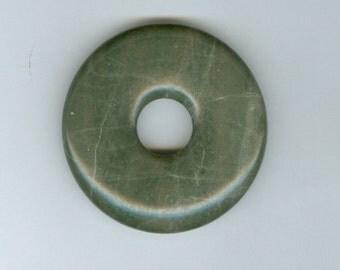 45mm Green Lined Jasper Gemstone PI Donut Focal Pendant Bead Doughnut 948B