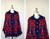 HEARTS button up poncho shawl