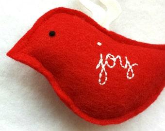 CLEARANCE simple JOY eco felt bird ornament, handmade christmas or valentine holiday tree decor, winter cardinal with hand embroidery