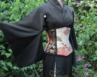 Limited Edition Japanese Kimono Crane Corset Rare Wedding Obi Silk by Louise Black Size Small 23 inches