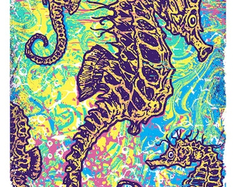 Seahorse Pyschedelic Limited Edition Silk Screen Poster Art Print - Etsy