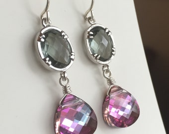 Victoriana Earrings, Pink Vitrail Swarovski Crystal Briolette, Grey Glass, Sterling Silver, Downton Abbey Inspired
