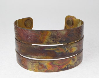 """Triple Rainbow Copper Cuff  Rainbow Patina 2"""" Wide with Protective Clear Coat"""