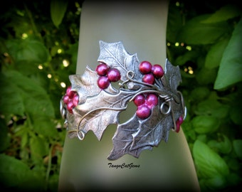 Silver Holly Pink Berry Cuff Bracelet