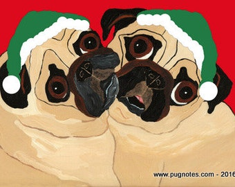 Holiday Pug Cards - 2 Fawn Pugs - HA94