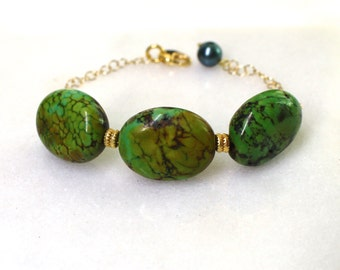Little Luxe Demi Gemstone Bracelet with Green Turquoise in gold...