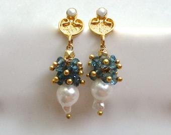 Akoya Pearl & London Blue Topaz Post Back Earrings in 22kg Vermeil....