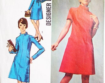 Simplicity 8909 Vintage 60s Sewing Pattern Scooter Dress Bust 36 Missing Instructions Designer Fashion