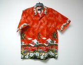 Island Aloha Wear . cotton botton down shirt . XL . made in USA
