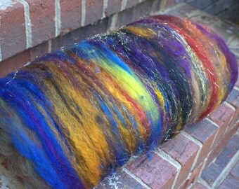 Art Batt Spinning Felting Fiber-Bridge To Terabithia- Storybook Collection- Totally Textured Jazzturtle Artisan Batt