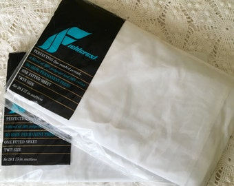 Fieldcrest Twin Fitted Sheet - Solid White Cotton Percale Sheet - Solid White Bedding - NOS - Unused Vintage Twin Sheet