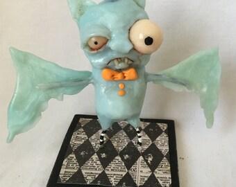 Bruno the Blue bat Ooak art doll