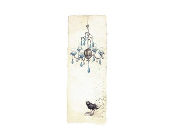 Blue Chandelier (A bird and a crystal chandelier) -Signed art print from an original painting by Leontine Greenberg