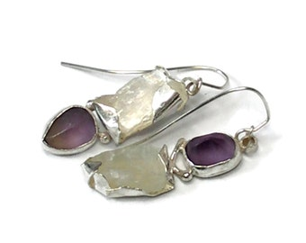 Asymmetrical Statement Earrings with ROugh Moonstone and Pyrite Amethyst, One of a Kind Earrings, Raw Stone Earrings, Amethyst Earrings