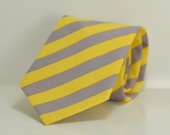 Yellow and Gray Striped Necktie, Men's Necktie, Wedding, Groomsmen, Skinny Tie, Cotton Necktie, Custom Ties