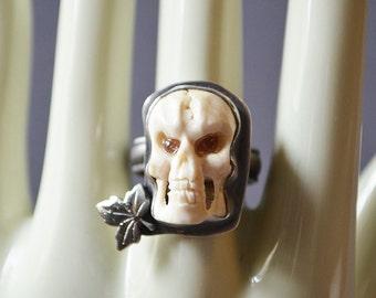 Auutmn Skull Ring Made With Bone Carved Skull
