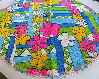 Vintage Dish Towel Mod Floral Flower Power Hand Made Wash Cloth Kithen Towel
