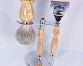 Handcrafted Shaving Set designed for Fusion/M3/Safety Razor with Stand using African Olivewood