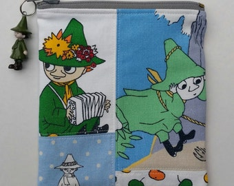Pretty zippered blue pouch and a charm with Moomin Snufkin