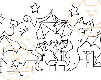 Digi Stamp Instant Download. Batcats - Knitty Kitty Digis No. 39