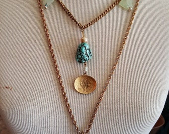 Double Strand Gold Chain Necklace with Turquoise Pendant,  Coin Charms, and Chain Tassel