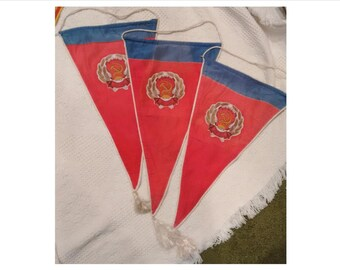 Vintage Soviet Union Russian Red Lenin Banner Flag, 1976, parade banner, USSR, hammer sickle, 1st place award banner, mecto