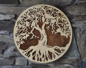 Tree of Life Sacred World Tree Choice of Back Color  Wooden Wall Hanging Color