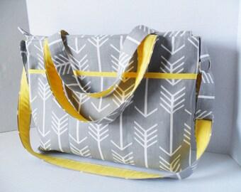 Arrow Laptop Bag - Messenger Bag - Gray Arrow - Diaper Bag - Zipper Closure - Large Diaper Bag - Yellow - Gray arrow diaper Bag