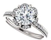 amora gem madeline ring - 1.4 carat vintage style engagement ring, diamonds, 14k white gold