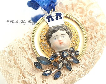 Royal Blue Princess China Doll  Ornament Small Elegnat Doll Theme Ornie Stocking Doll Lover Gift Stuffer Gift