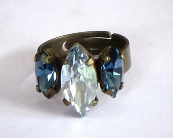 Swarovski Crystal navette fancy stone three-ring crystal blue shade & montana,bronze plated,one of a kind beautiful women's jewelry