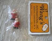 SALE 2 miniature vintage plastic craft ornament Christmas Santa orig pkg Hong Kong
