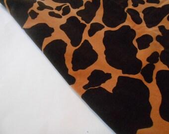 Giraffe Velveteen Fabric, Giraffe Fabric, Brown Giraffe Fabric, 1 Yard and Half