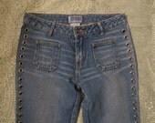 Hippie Boho Gypsy Grommet Laced Flare Jeans Sz 3