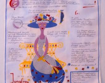 Vintage Novelty Handkerchief - Virgo in German - Jungfrau - Zodiac Astrology - Reduced