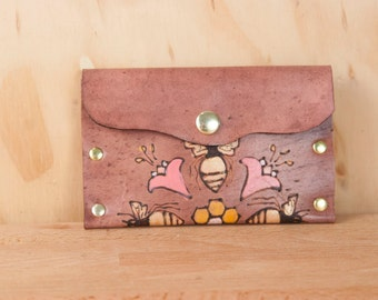 Small Leather Pouch - Bee Business Card Case or Wallet - Meadow Pattern in Pink and Antique Mahogany - Coin Purse