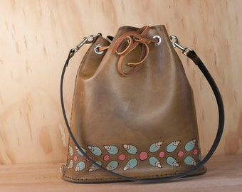 Leather Drawstring Tote Bag - Handmade Bucket Bag in the Petal pattern with flowers and leaves in pink, sage and antique brown