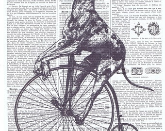 Dog.Bike.Steampunk.Tricycle.Antique,Altered Vintage Book Page.Bicycle.steam punk,birthday gift.home deco.dad.mixed media.altered art.whimsy