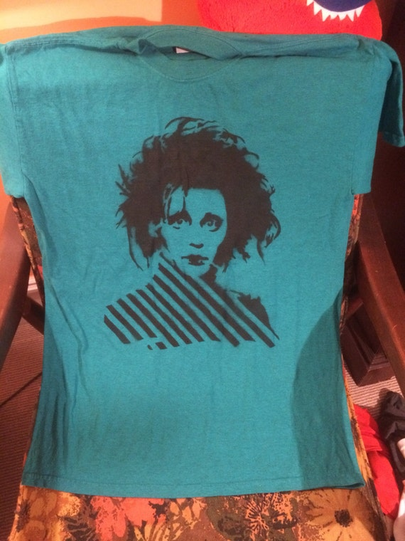 SALE Edward Scissorhands spray paint shirt Johnny Depp