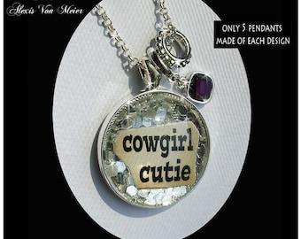 Cowgirl Cutie, glitter pendants,glitter, sparkle, bling, original art pendants, gift boxed, glitter pendants,cowgirl jewelry, cowgirls,rodeo