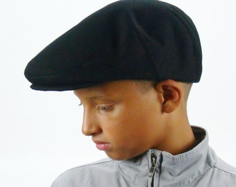 Black Cotton Twill Jeff Cap, Ivy Cap, Driving Cap for Men, Women, and Children