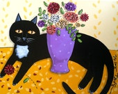 Blackie and the Mums cat Print/Reproduction