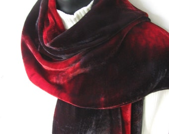 Womens scarves Hand Dyed Velvet Scarf in Oxblood Red gray Gift for Her Womens  Winter Fashion Scarf Luxurious Velvet Scarf Womens Gift Silk