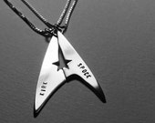 Star Trek Best Friend necklaces, Kirk and Spock  Friendship sterling silver STAR TREK best friends. Picard and Riker. Spock and Uhura.