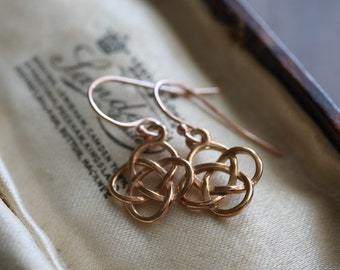 Rose gold Celtic knot earrings - simple rose gold dangle earrings - 14k gold fill & vermeil - gold love knots