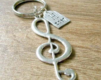 Personalized Music Note Keychain, Treble Clef Keychain, Music Keychain, Music Graduation Gift, Music Major Gift, Music Major